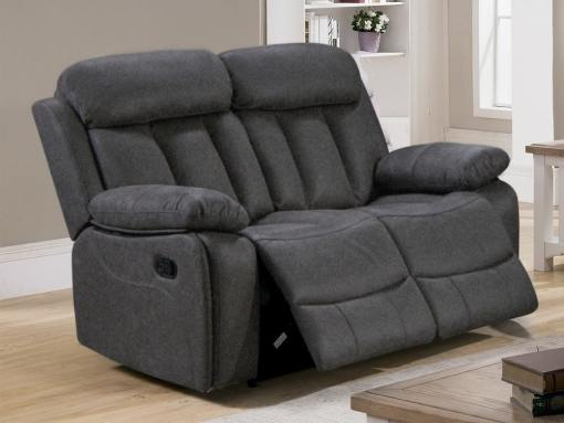 2 Seater Recliner Sofa Upholstered in Grey Fabric - Barcelona. Fabric Luna