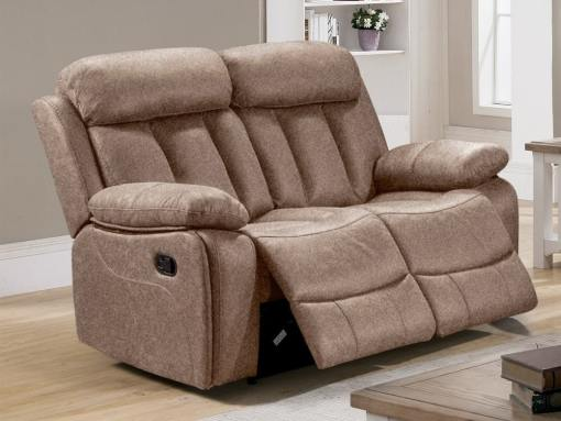 2 Seater Recliner Sofa Upholstered in Beige Fabric - Barcelona. Fabric Luna