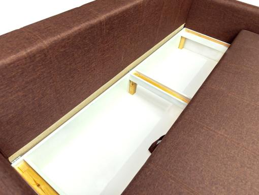 Storage of the Bruges sofa. Brown fabric
