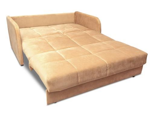 Modo cama. Sofá cama pequeño de 2 plazas - Mons. Tela beige