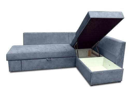 Arcón abierto. Sofá rinconera con cama, cajón en el brazo y cojines - Mechelen. Tela gris. Esquina lado derecho