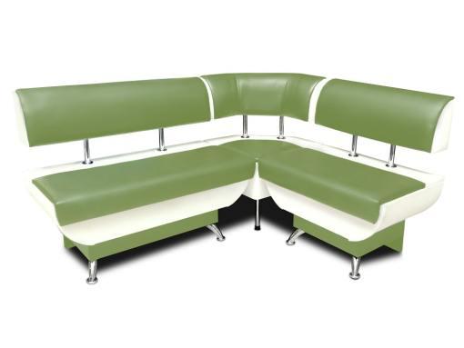 Banco de esquina con respaldo, cajones de almacenamiento, 124 x 154 cm - Silvia. Verde y blanco, parte corta a la derecha
