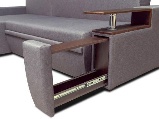 Botellero extraible y estante. Sofá chaise longue cama 3 plazas - Ostend 3. Tela gris, chaise longue izquierda