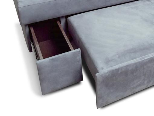 Cajón lateral extraíble. Sofá rinconera con cama modelo Mechelen. Tela gris. Esquina lado derecho