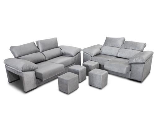 Conjunto de sofás 3+2, asientos deslizantes, respaldos reclinables y 4 pufs - Toledo. Color gris claro