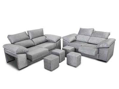 Sofa set 3+2: sliding seats, reclining backrests and 4 poufs - Toledo. Light grey fabric