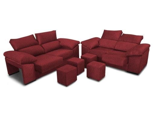 Conjunto de sofás 3+2, asientos deslizantes, respaldos reclinables y 4 pufs - Toledo. Color rojo
