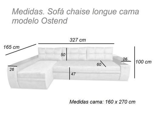 Medidas. Sofá chaise longue modelo Ostend. Izquierda