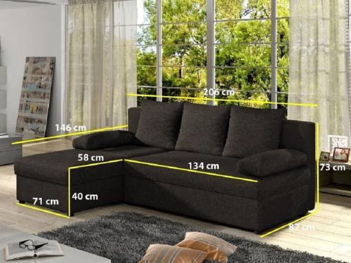 Medidas. Sofá chaise longue pequeño con cama. Color marrón - York