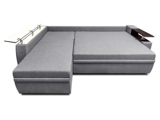Modo cama. Sofá chaise longue cama 3 plazas - Ostend 3. Tela gris, chaise longue izquierda