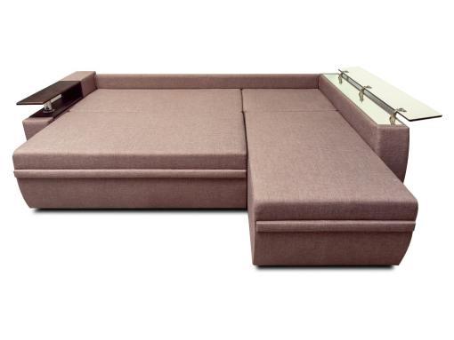Modo cama. Sofá chaise longue cama 3 plazas - Ostend 3. Tela marrón, chaise longue derecha