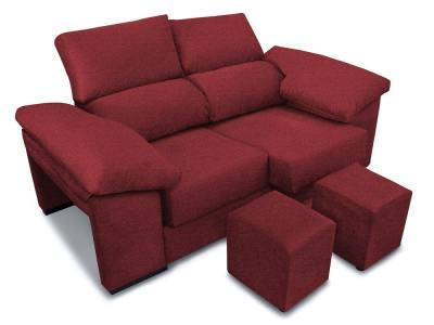 2 seater sofa with sliding seats, reclining backrests, 2 poufs – Toledo. Red fabric