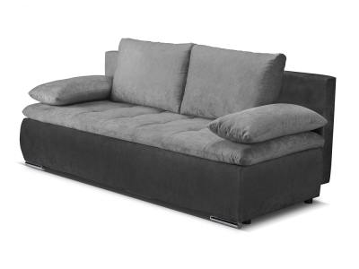 Sofa bed with side cushions (armrests) - Lorca. Dark grey and black fabrics