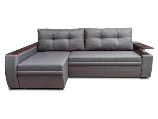 Sofá chaise longue cama 3 plazas con cajones de almacenamiento - Ostend 3. Tela gris, chaise longue izquierda