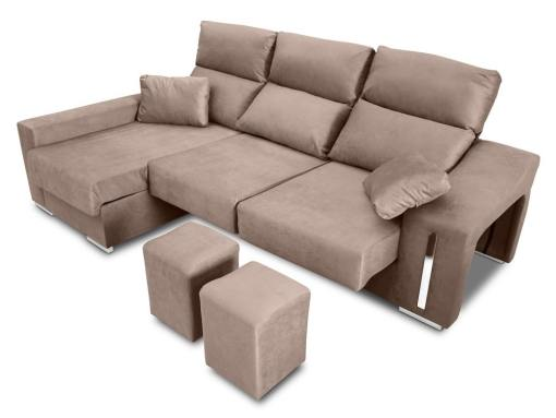 Chaise longue sofa with sliding seats, reclining headrests, 2 pouffes, storage. Beige fabric. Chaise longue on the left