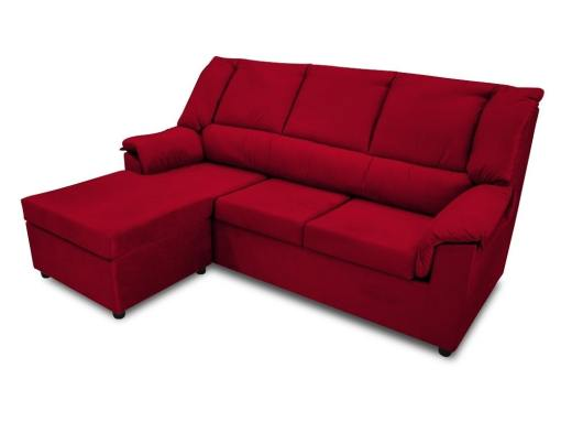 Small inexpensive chaise longue sofa  - Nimes. Dark red fabric. Chaise longue on the left