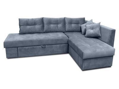 Sofá rinconera cama con cajón en el brazo y cojines - Mechelen. Tela gris. Esquina lado derecho