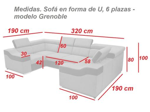 Medidas. Sofá en forma de U, 6 plazas - Grenoble