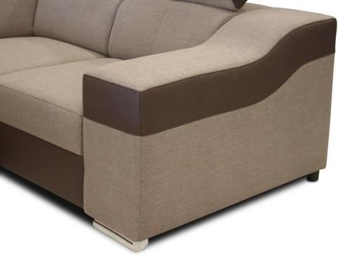 Reposabrazo. Sofá en forma de U, 6 plazas - Grenoble. Tela beige, polipiel marrón