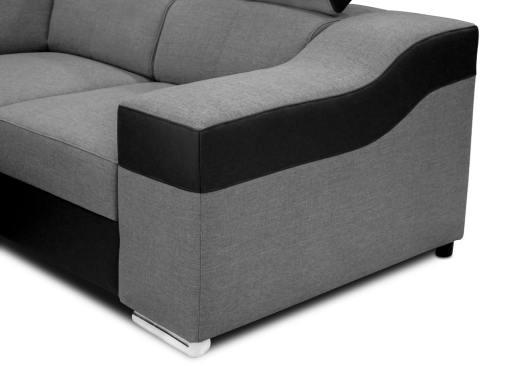 Reposabrazo. Sofá en forma de U, 6 plazas - Grenoble. Tela gris, polipiel negra