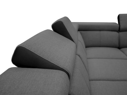 Reposacabezas reclinables. Sofá en forma de U, 6 plazas - Grenoble. Tela gris, polipiel negra
