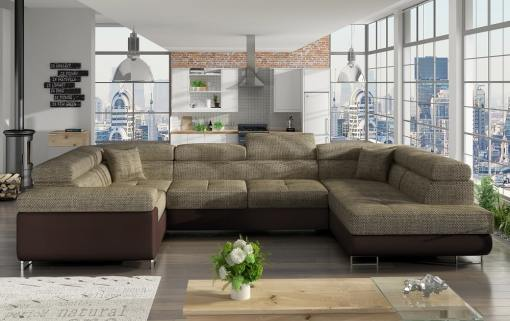 Sofá en U moderno (2 chaiselongs) con cama y arcón - Coventry. Esquina lado izquierdo. Tela beige (Berlin 03) - Polipiel marrón (Soft 66)