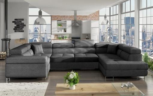 Sofá en U moderno (2 chaiselongs) con cama y arcón - Coventry. Esquina lado izquierdo. Todo tela gris oscuro (Inari 96)