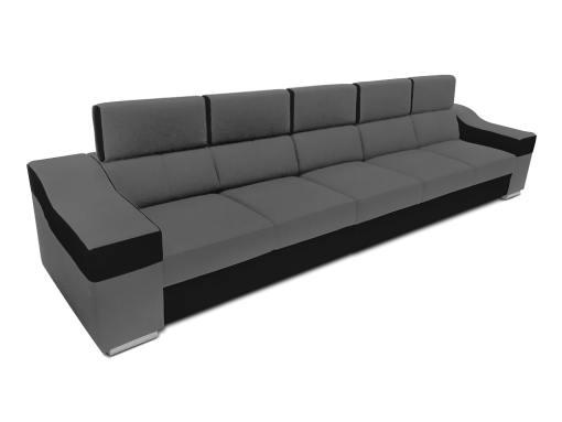 Sofá 5 plazas sin chaise longue, reposacabezas reclinables - Grenoble. Gris, negro