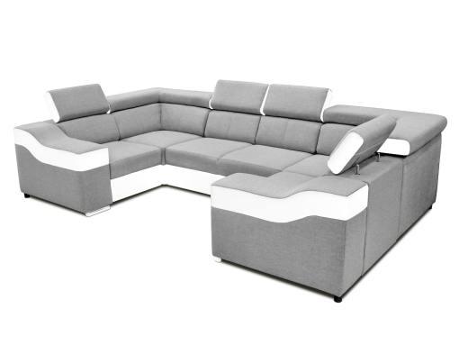 Sofá en forma de U, 6 plazas - Grenoble. Tela gris claro, polipiel blanca