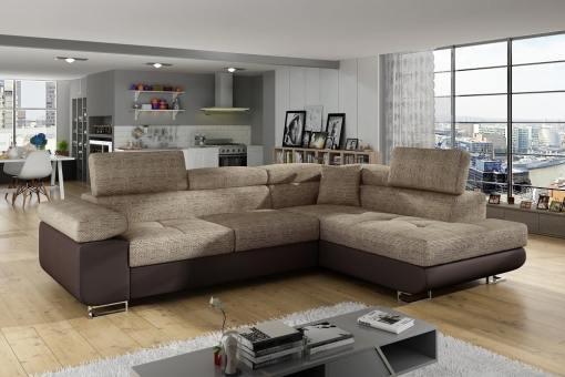 Sofá rinconera cama con arcón y reposacabezas reclinables - Manchester. Esquina lado derecho. Colores beige (tela Berlin 03) y piel sintética marrón (soft 66)