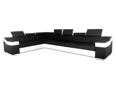 Large 7 Seater Corner Sofa with High Headrests – Grenoble. Black White. Faux Leather. Left