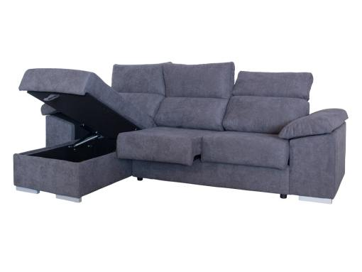 Open Storage of the Estepona Sofa. Grey Fabric