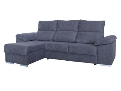 Sofá chaise longue con asientos deslizantes y arcón - Estepona. Tela gris