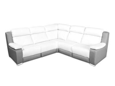 Sofá rinconero en piel auténtica color blanco y gris, asientos eléctricos - Wels