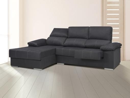 Chaise longue con asientos extraíbles, respaldos reclinables, brazo siesta - Lier. Gris oscuro, izquierda