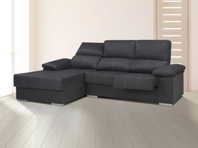 """Chaise longue sofa with sliding seats, reclining headrests, """"siesta armrests"""" - Lier. Grey, left"""