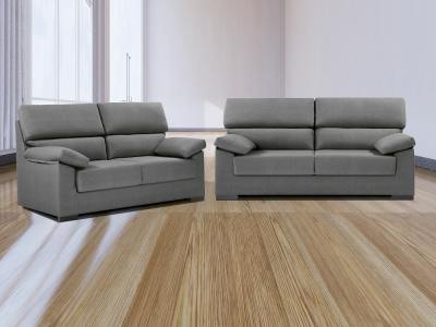 Conjunto de sofás 3+2 en tela sintética - Leuven. Gris