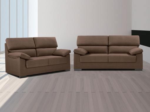 Conjunto de sofás 3+2 en tela sintética - Leuven. Marrón (chocolate)