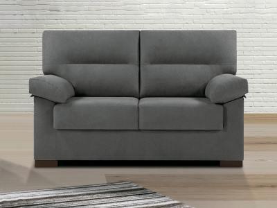 Inexpensive 2-Seater Sofa in Grey Fabric - Liege
