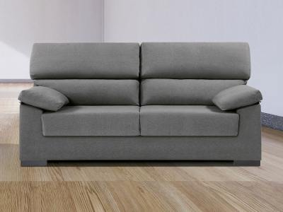 Inexpensive 3-seater sofa in synthetic fabric - Leuven. Grey