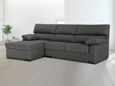 Inexpensive chaise longue sofa in synthetic fabric - Leuven. Grey, left