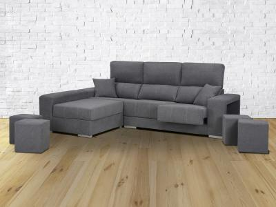 Sofá cheslón reversible, asientos extraíbles, respaldos reclinables, 4 taburetes - Dinant. Gris, izquierda