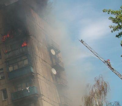 пожар в девятиэтажке Енакиево