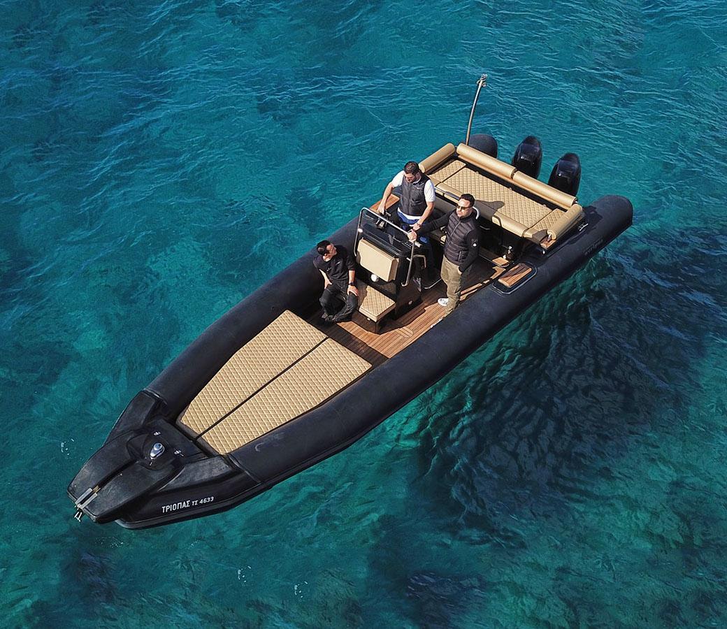 Triopas Private RIB Boat rental in Mykonos, Paros & Athens by Don Blue