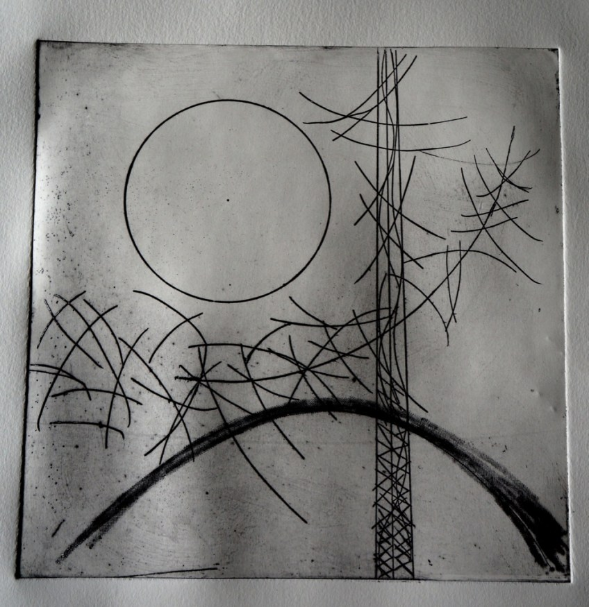 black and white abstract etching