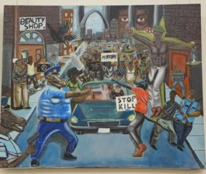 Painting of Police Officers as Pigs