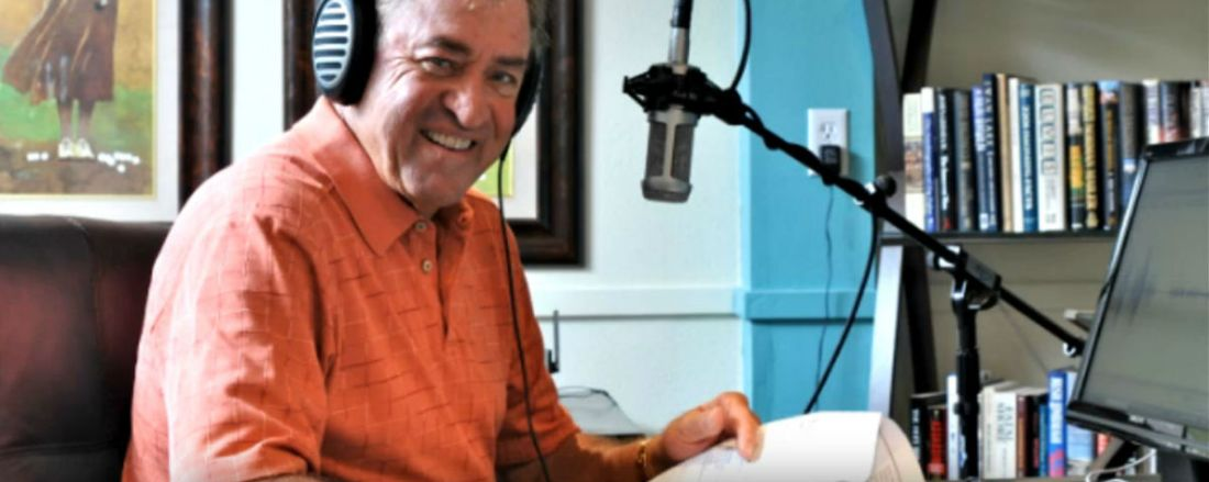 Don Connelly recording an audio podcast
