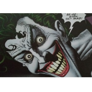 The Joker is a perfect example of someone who has a scary and lunatic face.