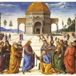 The Delivery of the Keys to Saint Peter by Pietro Perugino, a wonderful example of One Point Perspective.