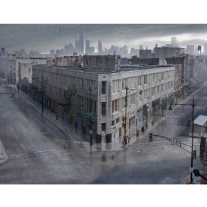 City Corner With Rain Layer for Fx Concept by Chris Duncan, a great example of Two Point Perspective that just works!
